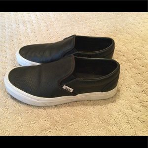 Leather Vans classic slip ons